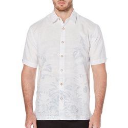 Cubavera Mens Broken Stripe Palm Border Short Sleeve Shirt