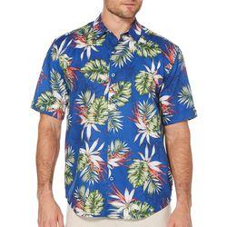 Cubavera Mens Tropical Print Linen Short Sleeve Shirt