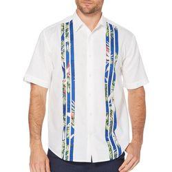 Cubavera Mens Tropical Print Panel Short Sleeve Shirt