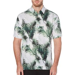 Cubavera Mens Tropical Palm Print Short Sleeve Shirt