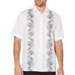 Cubavera Mens Leaf Embroidered Panel Shirt