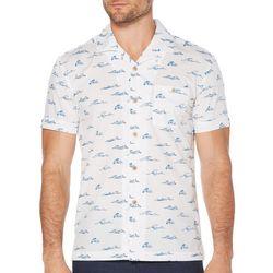 Cubavera Mens Ocean Waves Print Short Sleeve Shirt