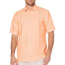 Cubavera Mens Embroidered Button Pockets Shirt
