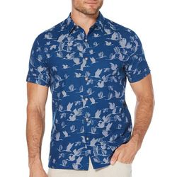 Cubavera Mens Bird Print Woven Shirt