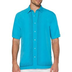 Cubavera Mens Ombre L-Shape Embroidery Shirt