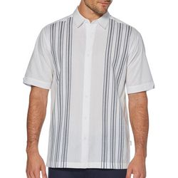Cubavera Mens Yarn Dye Textured Panel Shirt