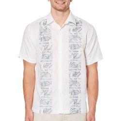 Cubavera Mens Vertical Leaf Stripe Short Sleeve Shirt