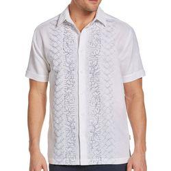Cubavera Mens Geo Floral Embroidery Panel Shirt