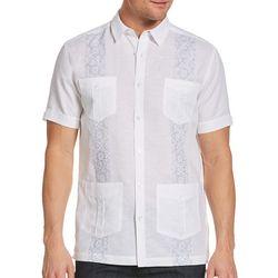 Cubavera Mens Tile Embroidered Guayabera Shirt