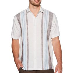 Cubavera Mens Yarn Dye Striped Linen Shirt