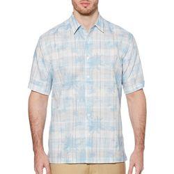 Cubavera Mens Yarn Dyed Tropical Plaid Sleeve Shirt