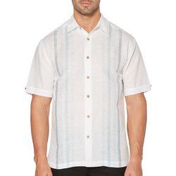 Cubavera Mens Dobby Panel Short Sleeve Yarn Dyed Shirt