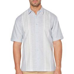 Cubavera Mens Yarn Dyed Panel Short Sleeve Shirt