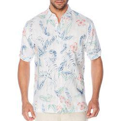 Cubavera Mens Dobby Tropical Print Short Sleeve Shirt