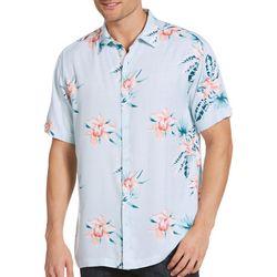 Cubavera Mens Floral Print Twill Shirt