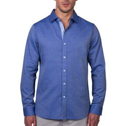 Tahari Mens Diamond Jacquard Long Sleeve Shirt
