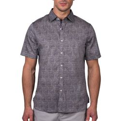 Tahari Mens Sateen Matchstick Regular Fit Short Sleeve