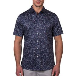 Tahari Mens Sateen Floral Regular Fit Short Sleeve Shirt
