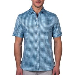 Tahari Mens Sateen Checkered Regular Fit Short Sleeve Shirt