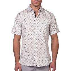 Tahari Mens Sateen Geo Dotted Regular Fit Short Sleeve Shirt