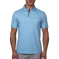 Tahari Mens Solid Pocket Short Sleeve Polo Shirt