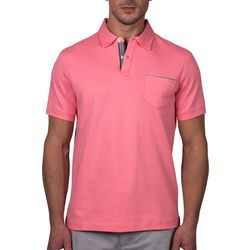 Tahari Mens Solid Pocket Short Sleeve Polo Shirt