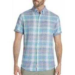 Weatherproof Mens Plaid Linen Short Sleeve Shirt