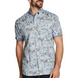 Weatherproof Mens Tropical Palm Print Short Sleeve Shirt