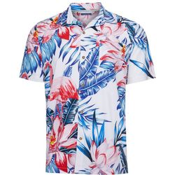 Caribbean Joe Mens Leaf Print Button Down Shirt