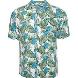 Caribbean Joe Mens Palm Leaf Camp Button Down Shirt