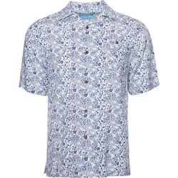 Caribbean Joe Mens Mini Floral Camp Button Down Shirt