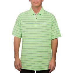 Pebble Beach Mens Stripe Print Performance Polo Shirt