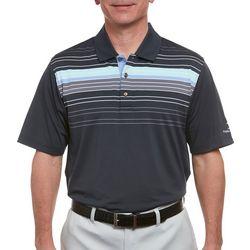Pebble Beach Mens Chest Stripe Print Polo Shirt