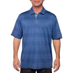 Pebble Beach Mens Stripe Performance Golf Polo Shirt
