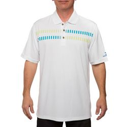 Pebble Beach Mens Geo Stripe Performance Golf Polo Shirt