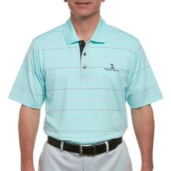 Pebble Beach Mens Embossed Stripe Performance Polo Shirt