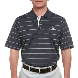 Pebble Beach Mens Embossed Stripe Print Polo Shirt