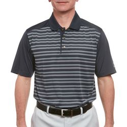 Pebble Beach Mens Stripe Print Jersey Polo Shirt