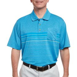 Pebble Beach Mens Heathered Stripe Performance Polo Shirt