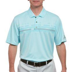 Pebble Beach Mens Geometric Chest Print Polo Shirt