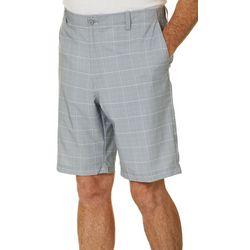 Golf America Mens Windowpane Plaid Print Golf Shorts