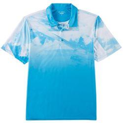 Golf America Mens Geo Sky Print Performance Polo Shirt