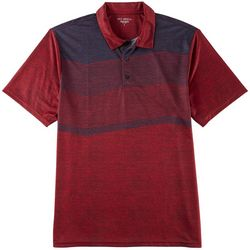 Golf America Mens Zip Zag Stripe Performance Polo Shirt