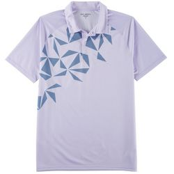 Golf America Mens Diagonal Geometric Print Polo Shirt