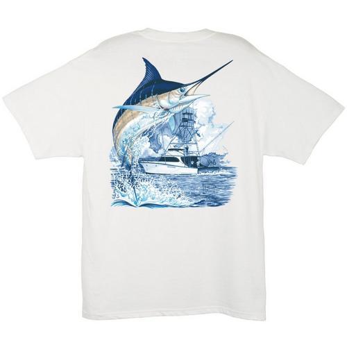 25712ac0f66a Guy Harvey Marlin Boat T-Shirt