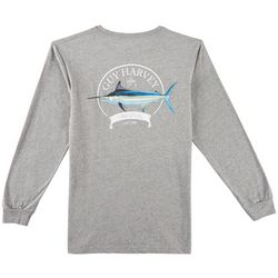 Guy Harvey Mens Heathered Members Only Long Sleeve T-Shirt