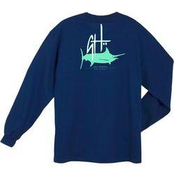 Guy Harvey Mens Initial Logo Long Sleeve Crew T-Shirt