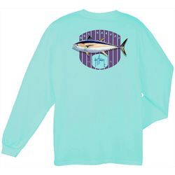 Guy Harvey Mens Long Sleeve Blue Fin T-Shirt