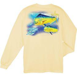 Guy Harvey Mens Double Dorado Long Sleeve Crew T-Shirt