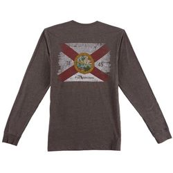 FloGrown Mens Washed Flag Long Sleeve T-Shirt